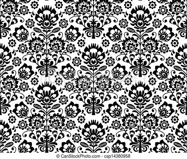 Seamless floral polish pattern - csp14380958