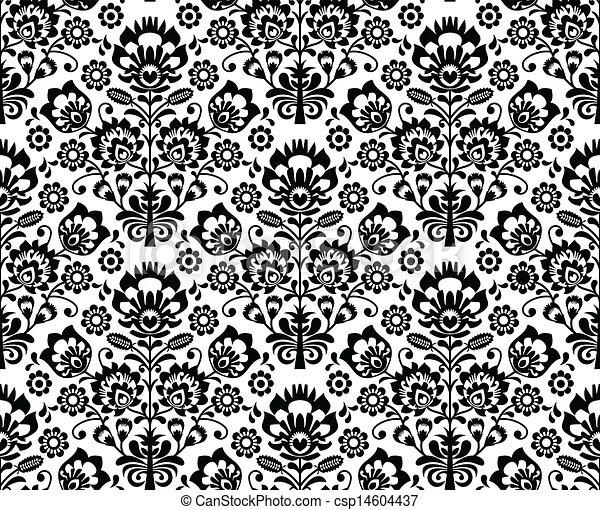 Seamless floral polish pattern  - csp14604437