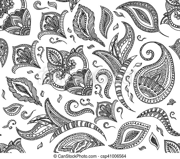 seamless floral retro background pattern in vector henna. Black Bedroom Furniture Sets. Home Design Ideas