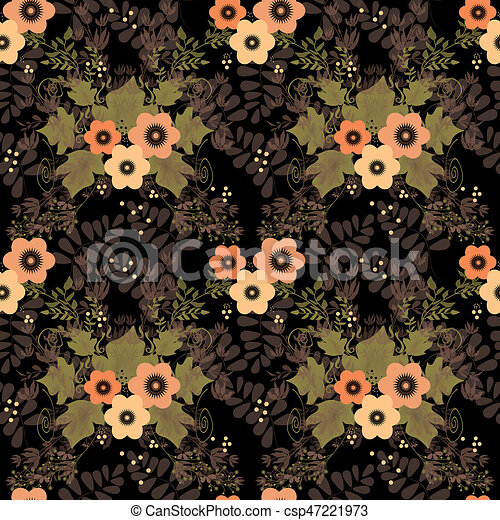 Seamless floral retro pattern on black - csp47221973