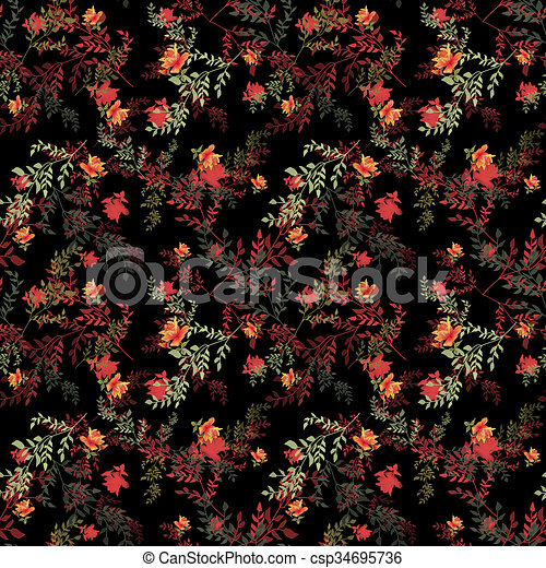 Seamless floral roses pattern on black - csp34695736