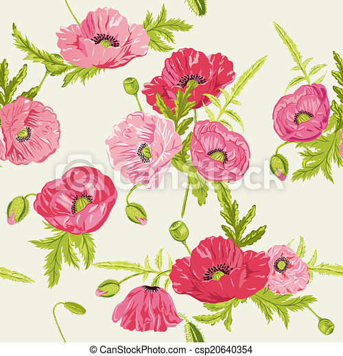Seamless Floral Shabby Chic Background - in vector - csp20640354