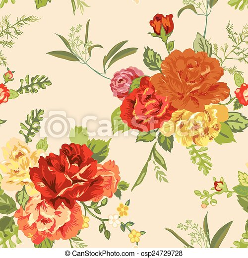 Seamless Floral Shabby Chic Background - in vector - csp24729728