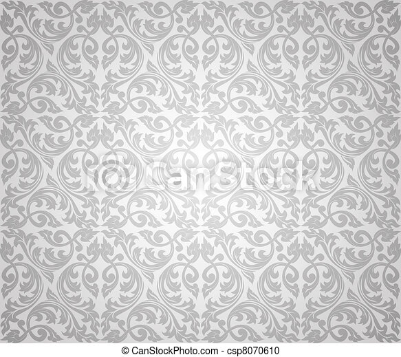 seamless floral silver background - csp8070610