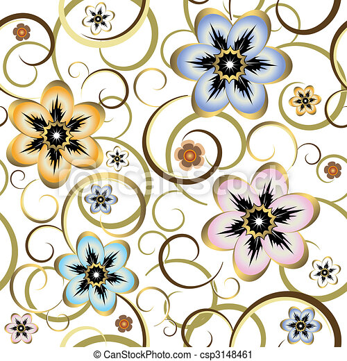 Seamless floral white pattern  - csp3148461