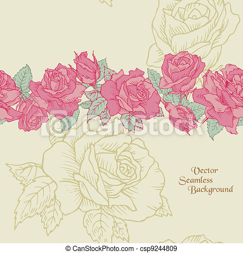 Seamless Flower Background - Hand Drawn Roses in vector - csp9244809
