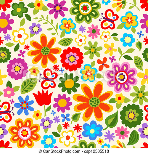 Seamless flower colour pattern clipart search illustration seamless flower colour pattern voltagebd Image collections
