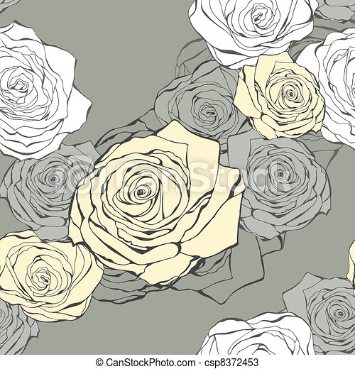 Seamless flower pattern from roses - csp8372453