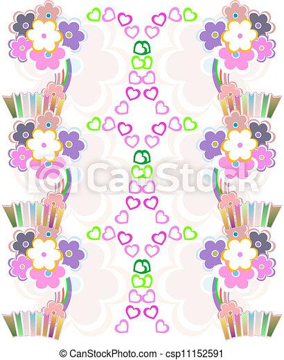 Seamless flower retro background vector pattern - csp11152591