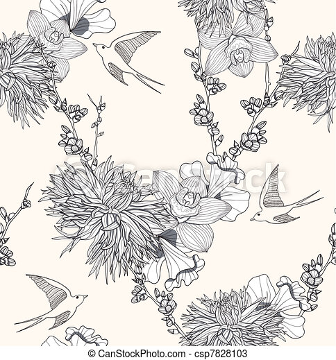 Seamless Flowers And Birds Pattern Seamless Floral Pattern Seamless
