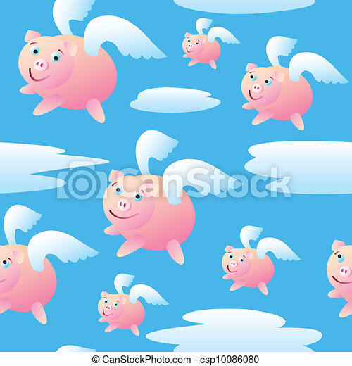 Seamless Flying Pigs - csp10086080