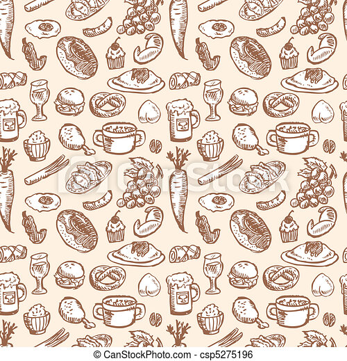 seamless food pattern  - csp5275196