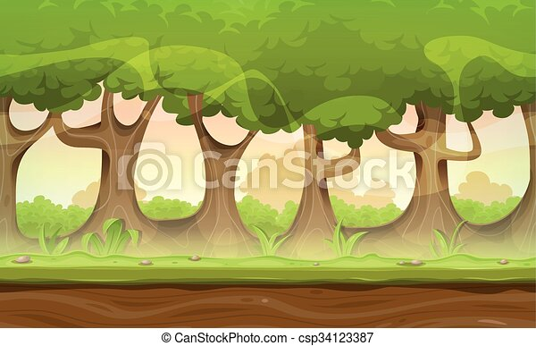 Seamless Forest Trees And Hedges Landscape For Game Ui - csp34123387