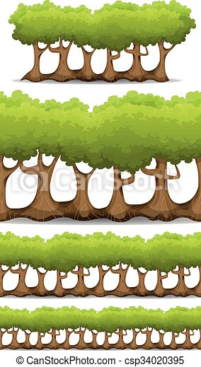 Seamless Forest Trees, Hedges And Bush Set For Game Ui - csp34020395