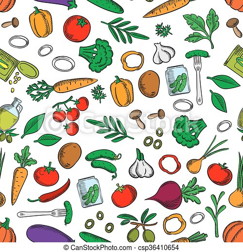 Seamless fresh and pickled vegetables pattern - csp36410654