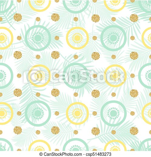 seamless fruit with gold dot glitter pattern background - csp51483273
