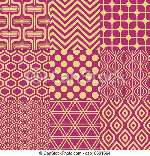 seamless fuchsia gold pattern - csp16601664