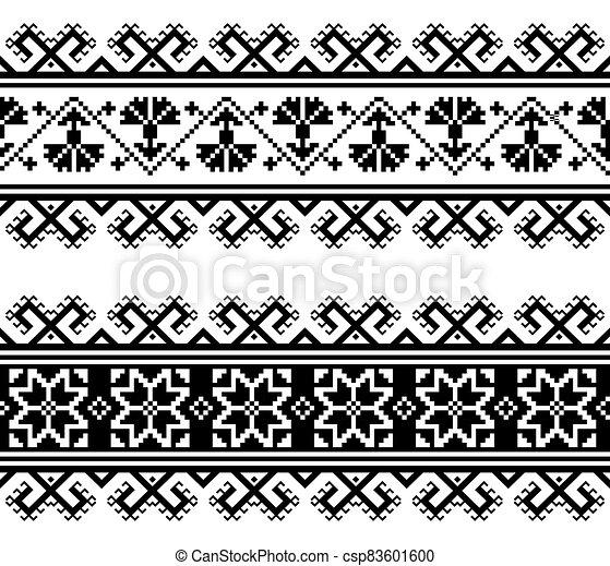 seamless, gente, geométrico, bordado, patrón, wtich, ucranio, tradicional, flores, belarusian, formas, o - csp83601600