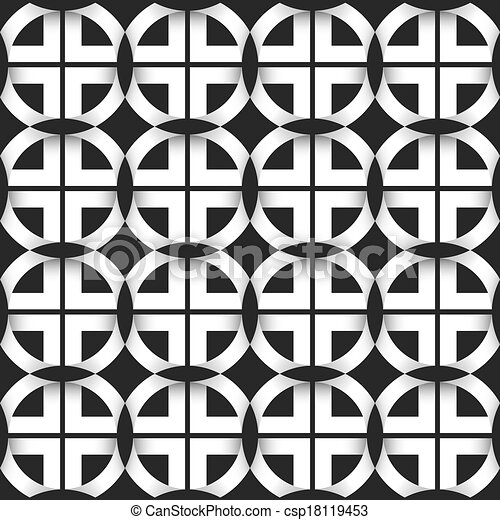 Seamless geometric pattern of black and white circles csp18119453