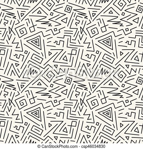 Charming Seamless Geometric Patterns In Memphis Style. Fashion 80 90s. Hand Drawn  Design.