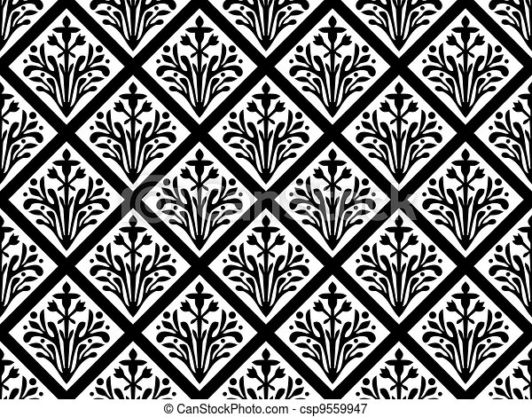 Seamless geometrical gothic floral vector ornament - csp9559947