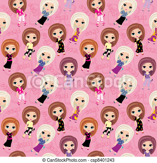 Seamless girls pattern. - csp8401243