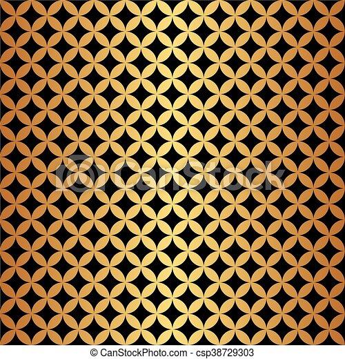 Seamless Gold & Black Circle Pattern - csp38729303