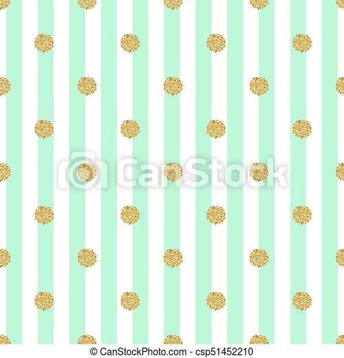 seamless gold dot glitter pattern with stripe green background - csp51452210