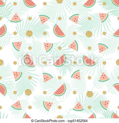 seamless gold dot glitter with watermelon pattern background - csp51452564