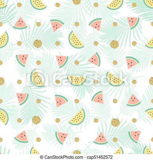 seamless gold dot glitter with mix watermelon pattern background - csp51452572