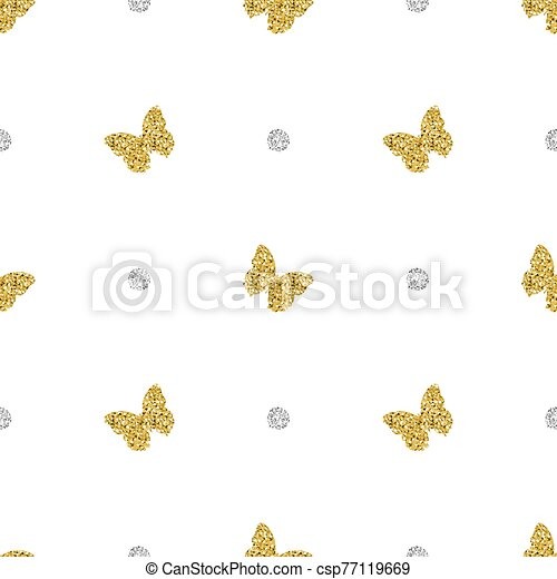 seamless gold glitter butterfly with silver dot pattern background - csp77119669