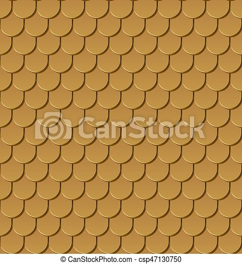 Seamless gold roof tiles vector background. - csp47130750