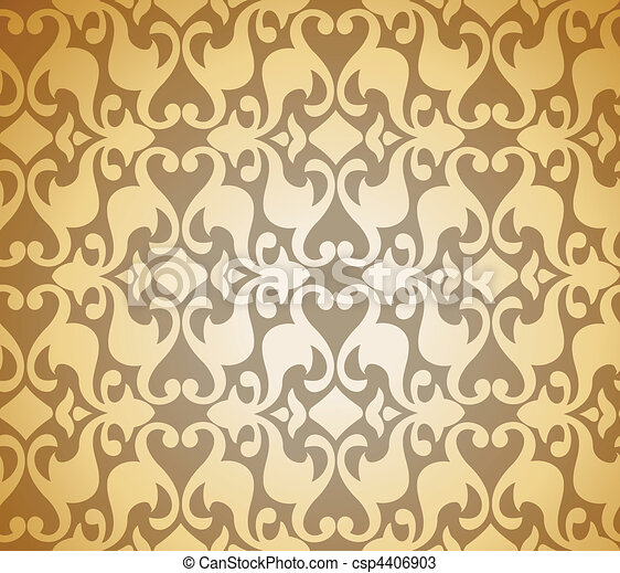 Seamless Golden Damask background. Vector - csp4406903
