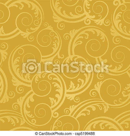 Seamless golden swirls wallpaper - csp5199488