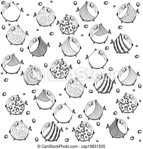 seamless graphic pattern with fish - csp19831505