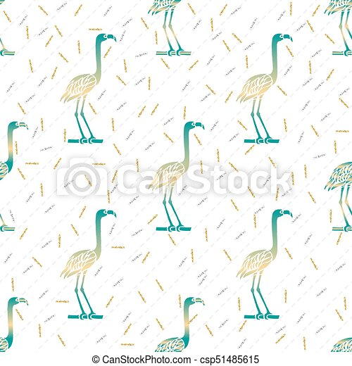 seamless green bird with silver and gold glitter pattern background - csp51485615