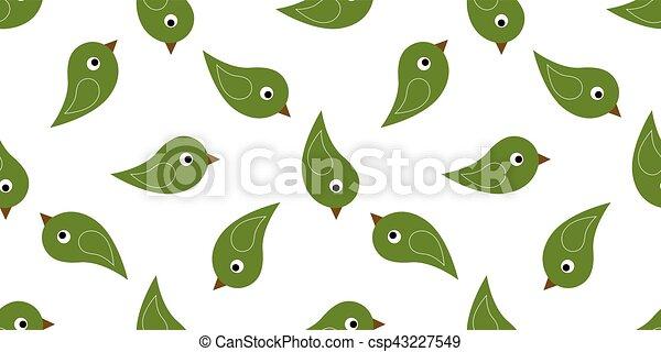 seamless green birds - csp43227549