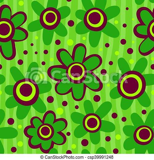 Seamless Green Flower Pattern - csp39991248