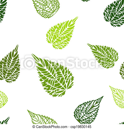 Seamless green leaves background - csp19830145