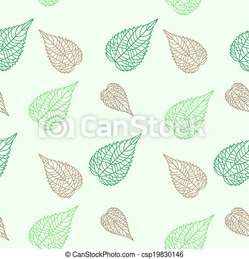 Seamless green leaves mosaic background - csp19830146