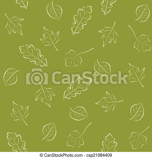 Seamless green pattern with leaves - csp21984409