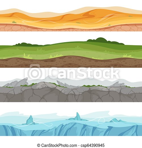 Seamless Grounded Surface Parallax Desert Sand Grass Water Ground Vector Environment For 2d Cartoon Games Illustration Of