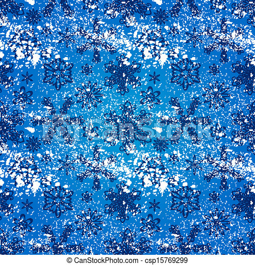 Seamless grunge pattern with snowflakes  - csp15769299