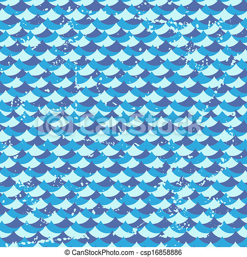 Seamless grunge pattern with waves. - csp16858886