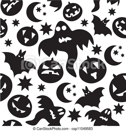 Seamless halloween pattern with black ghosts on white background ...