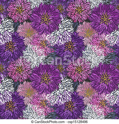 Seamless hand-drawn  aster pattern - csp15128496