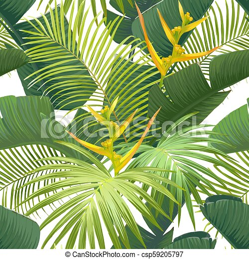 Seamless Hand Drawn Tropical Vector Pattern With Bird Of Paradise