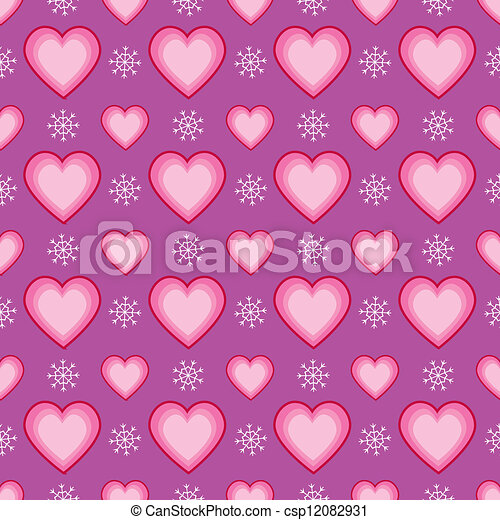 Seamless Heart and Snowflake Patter - csp12082931