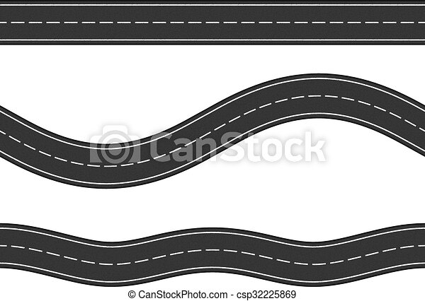 Line Drawing Vector Graphics : Seamless horizontal roads. three asphalt clip
