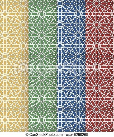 Seamless Islamic Moroccan Pattern Set Arabic Geometric Ornament Muslim Texture Vintage Repeating Background Vector Blue Wallpaper Oriental Design